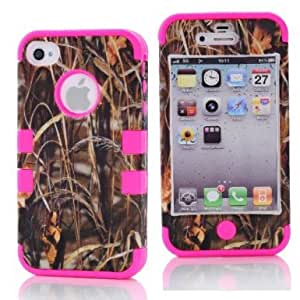 SHHR-HX4G116N Straw Grass Mossy Camo Design Hybrid Cover Case for Apple iPhone4 4s 4G -Hot Pink Color