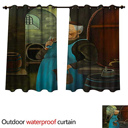 Outdoor Curtains for Patio Sheer A Franciscan Drinks a Glass of Wine in The Cellar W63 x L63(160cm x 160cm)
