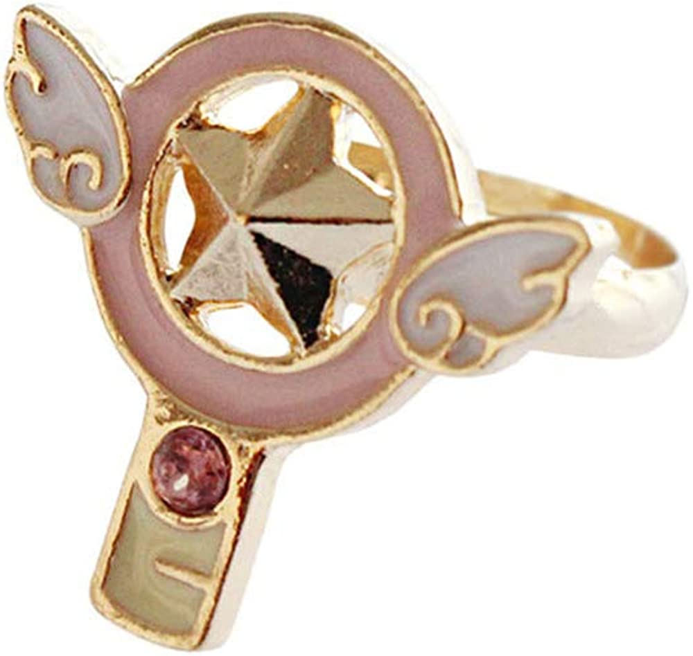 Acccity 4 pcs//Set Card Captor Sakura Design Rings Adjustable Ring Girls Rings
