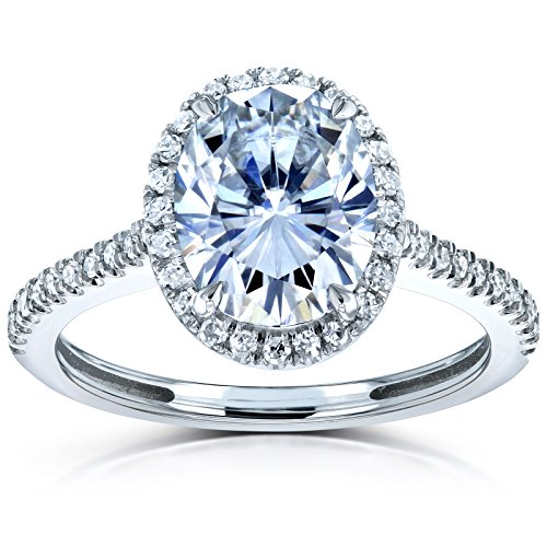 Forever One Oval Moissanite and Diamond Halo Engagement Ring 2 1/4 CTW 14k White Gold (DEF/VS, GH/I)