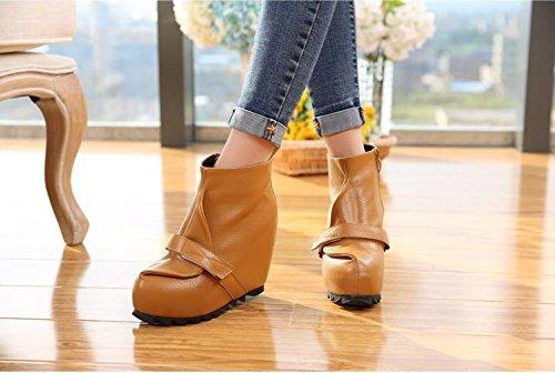 Talón Patente Carrera Oficina Botas Cuero Cuña Brown La Alto Las Planos Aire Mujeres Comodidad Flatform Y De Lvyuan Del Libre Zapatos Al Tobillo x4g0vwwPq