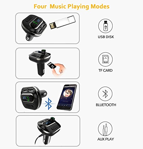 FM Transmitter, Bcway Wireless Radio Adapter Bluetooth Car Kit MP3 Player, 5V/3.1A Dual USB Ports Car Charger, Support TF Card + U Disk, Hands Free Calling for iPhone, Samsung, etc by AYY (Image #3)