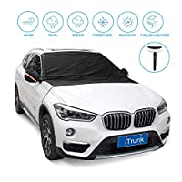 iTrunk Car Windshield Snow Cover, Snow Frost & Ice Protector with Mirror Cover for Protecting Windshield Wipers and Mirrors, Sun Shade Protector with 4 Hidden Magnets No Paint Scratching