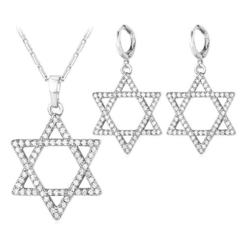 U7 Tantrism Sign Jewelry AAA Cubic Zirconia Jewelry Set Platinum Plated Link Chain Crystal Star of David Necklace and Earrings