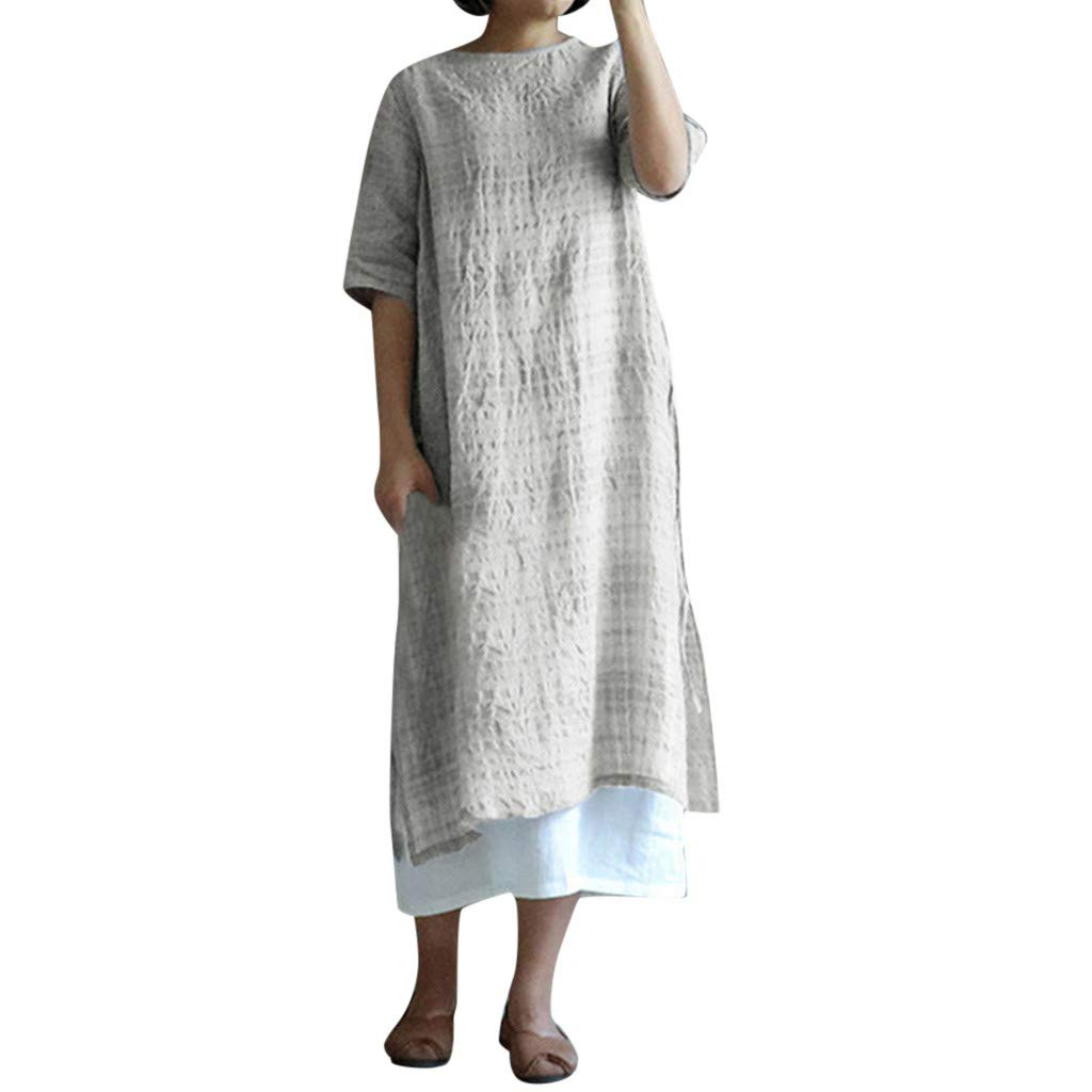 Women's Summer Long Dress Casual Cotton Linen Plaid Printed Short Sleeve Maxi Dress Plus Size High Low Wasit Strap Dress (White, XXL) by Cealu