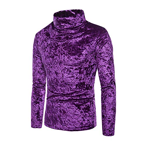 (Mens Velvet Velour Long Sleeve T Shirts Turtleneck Slim Fit Pullover Top (Purple, XL))