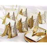 50pcs Gold Ribbon Wedding Favor Boxes