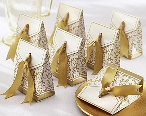 Gold Favor Boxes - Xin store Wedding Party Favor Candy Boxes with Gold Ribbon, Pack of 100