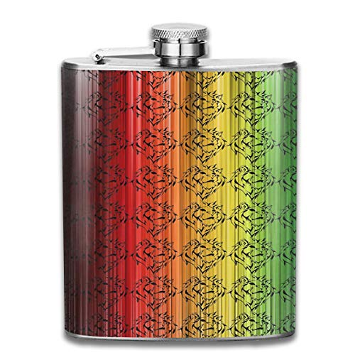 MAULTBY Stainless Steel Leak-Proof Hip Flask Rasta Lion Head Flagon Whiskey Container Flask Pocket for Unisex (Best Exercises For Belly Pooch)