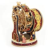 Serendipity Cute Teddy Bear Family and Ferris Wheel Wind Up Music Box, Tune by Laputa Castle In the Sky, Carrying You, Red