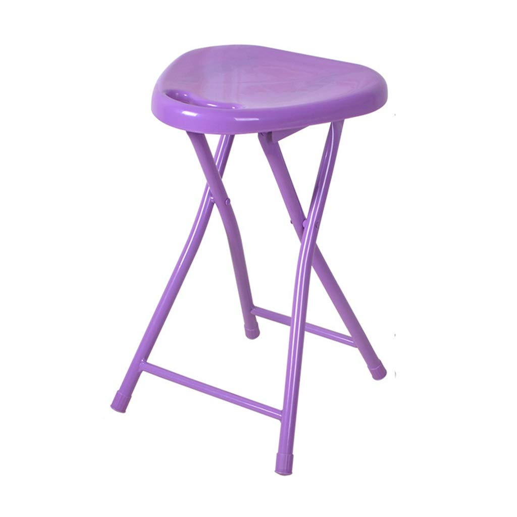 Jzmai Stool Multi-Purpose Handy Foldable Folding Sturdy Step Stool Home Outdoor Fishing Stools Leisure Step Stool Bathroom Small Stool Thick Plastic Folding Chair Latest Model (Color : Purple)