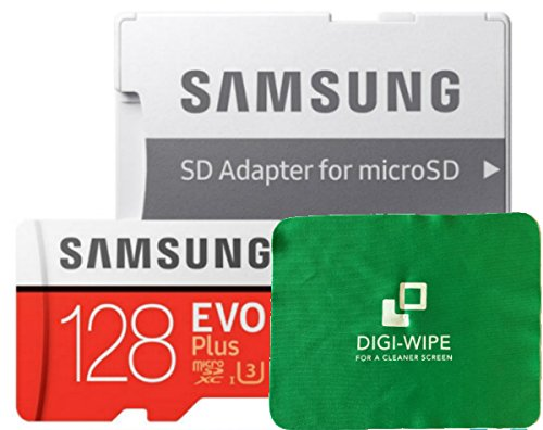 128GB Samsung Evo Plus Micro-SD Memory Card Class 10 UHS-3 for Samsung S7, S8, S8 Plus, Samsung Galaxy S9, S9 Plus Phones + Digi Wipe Cleaning Cloth