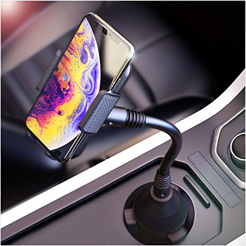 Cup Phone Holder for Car Cell Phone Holder Cup Holder Universal Phone Mount with Adjustable arm and Cradle Compatible with All Smartphones up to 6.5