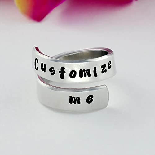 eadc275f26d8c Customize me - Hand Stamped Aluminum Spiral Wrap Twist Ring, Valentine's  Day Mother's Day Gift, Mom Daughter Sisters Best Friends BFF Custom ...
