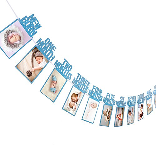 Whaline 1st Birthday Baby Photo Banner for Newborn to 12 Months, Monthly Milestone Photograph Bunting Garland, First Birthday Celebration Decoration (Blue) (1st Year Birthday Party Ideas For A Boy)