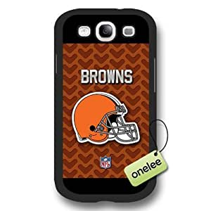 Personalize NFL Cleveland Browns Team Logo Frosted Black Samsung Galaxy S3(i9300) Case Cover - Black