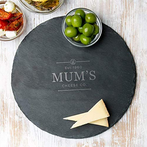 Personal Engraved Serving Tray for Mom - Round Slate Cheese Board - Personalized Bread Board - Personalized Slate Cutting Board - Gifts for Mothers ()