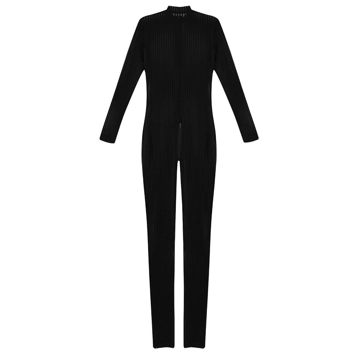 41e8d227ad69 Amazon.com  MSemis Women Black Sheer Full Bodysuit Lingerie Long Sleeve  Zipper Striped Mesh Bodystockings Jumpsuit Black One Size  Clothing