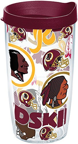 Tervis 1248174 NFL Washington Redskins All Over Tumbler with Wrap and Maroon Lid 16oz, Clear