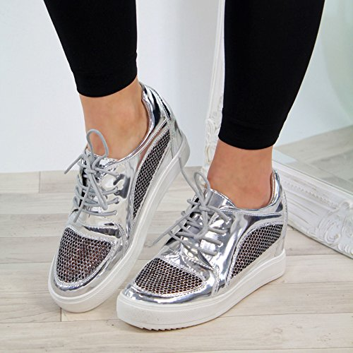498e95ccb03f Ladies Larena Fashion Nya Mesh Sneakers Wedge Kvinnor Shoes Casual Up  Silver Hidden Lace Sneakers Heel q7HwFnrqp