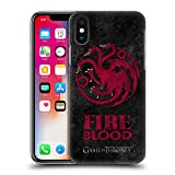 Official HBO Game Of Thrones Targaryen Dark Distressed Sigils Hard Back Case for Apple iPhone X