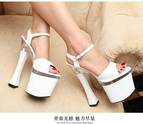 Xing Lin Zapatos De Verano Para Las Mujeres Cuñas Señor Crystal Clear 18Cm/20Cm Ultra-Alta Con Taiwán Impermeable Grueso Con Noche De Alta-Heel Shoes Sandalias De Mujer White 18cm