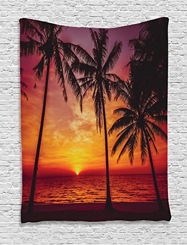 Tropical Decor Collection, Sunset Tropical Beach Palm Trees Peaceful Ocean Evening View Resort Picture, Bedroom Living Room Dorm Wall Hanging Tapestry, Black Red Orange