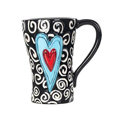 White Swirls Hearts Midnight Black 6 inch Glossy Ceramic Stoneware Mug]()
