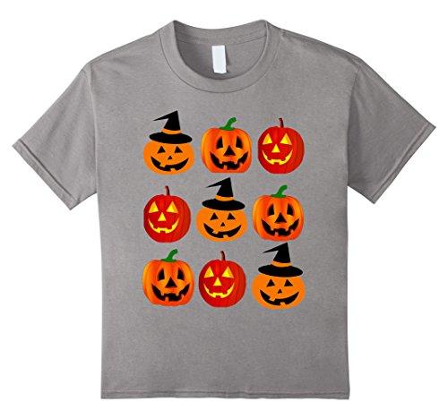 [Kids Pumpkin Emoji Tshirt Pumpkin Emoji Halloween Costume Scary C 8 Slate] (Scary Spice Costume Ideas)
