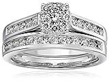 14k White Gold Composite Diamond Bridal Ring Set (1 cttw, H-I Color, I1-I2 Clarity), Size 7