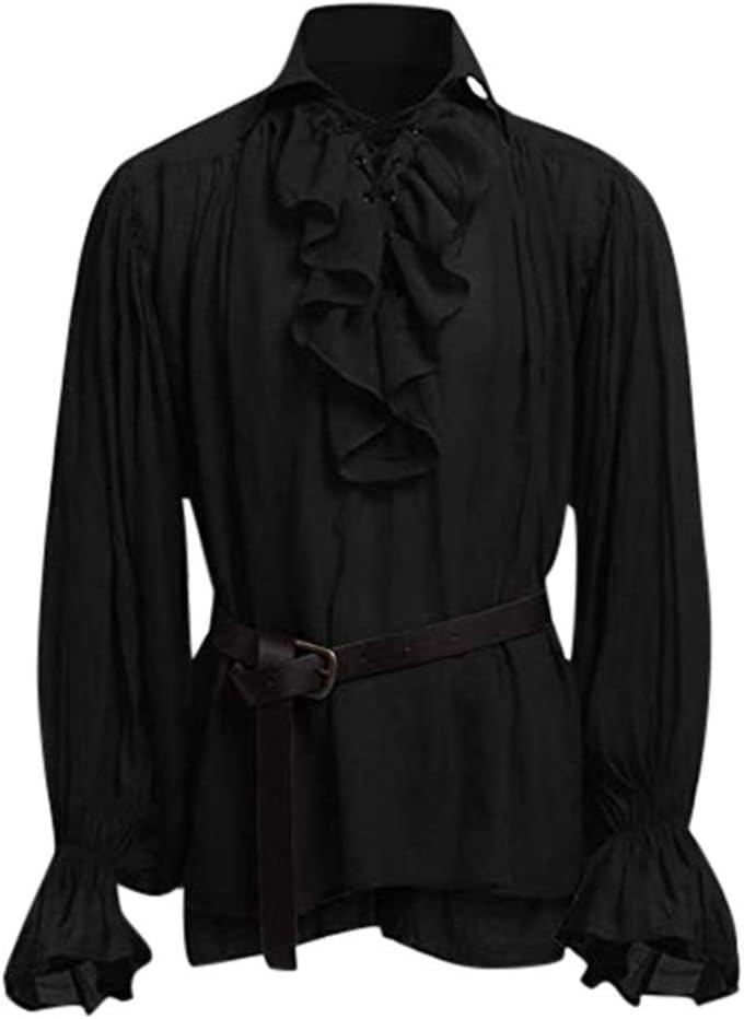 Herren R/üschenhemd Mittelalter Gothic Steampunk Schn/ürhemd mit G/ürtel Victorian Cosplay Langarmshirt Freizeit Hemd Gro/ße Gr/ö/ßen Pullover Shirt Bluse Tops