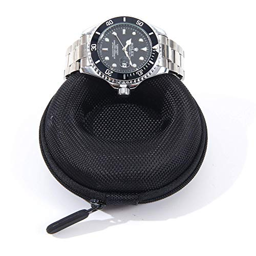 Single Watch Travel Case | Ultra Durable, Portable Round Watch Box Protector | Zipper Closer with Two Non Abrasive Foam Cushions | Fits Men's & Women's Wrist Watches & Smart Watches | Midnight Black (Traveler Ultra Light Case)