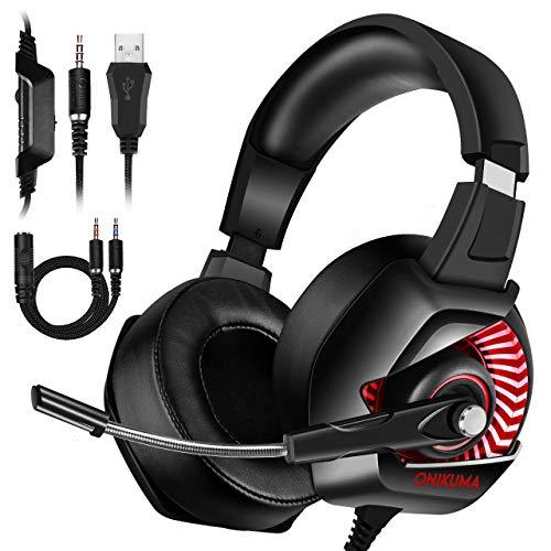 Auriculares Xbox - Auriculares para juegos ONIKUMA Xbox One con sonido envolvente 7.1, micrófono con cancelación de ruido, luces LED y almohadillas suaves