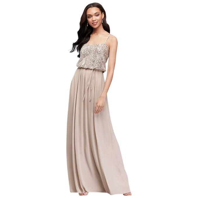 Davids Bridal Long Sequin Blouson Bridesmaid Dress Style F19788 At