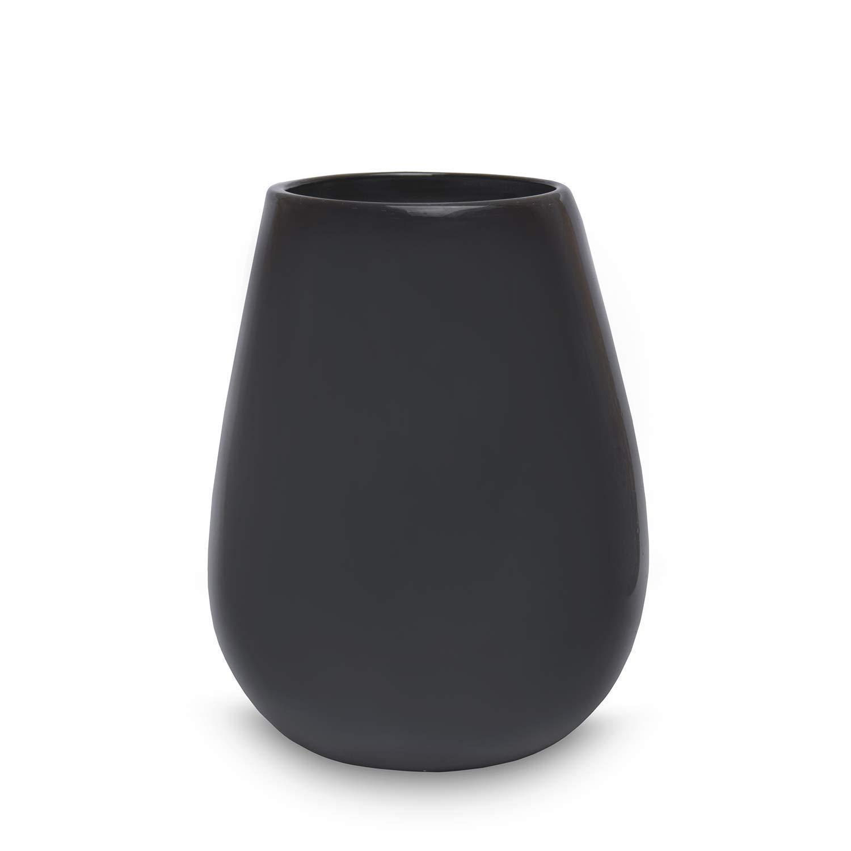 mundgeblasene Tischvase Wohnzimmer Hochzeit Weihnachten Blumenvase 24cm Vase Deko schwarz Smoke grau dunkel