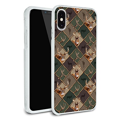 Deer Antler Hunting Hunter Camouflage Diamond Protective Slim Fit Hybrid Rubber Bumper Case Fits Apple iPhone X ()