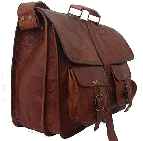VH Weinlese-weicher lederner Kurier-Brown-wirklicher Laptop-Schultaschen-Beutel-echter Aktenkoffer