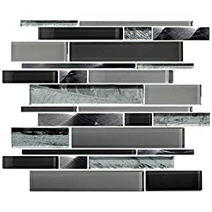 Hyh 8mm Thickness Glass Stone Blend Strip Mesh Mounted Mosaic Tile Sheet For Kitchen Backsplash