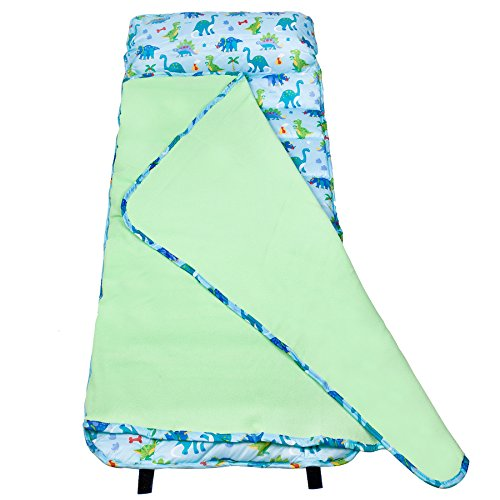 Wildkin Easy Clean, Water-Resistant Nap Mat, Olive Kids Children's Easy Clean Nap Mat with Built in Blanket and Pillowcase, Pillow Insert Included, Premium Microfiber, Ages 3-7 years, Dinosaur Land