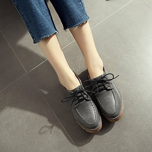 Latasa Womens Casual Lace-up Oxford Shoes Grey QTQEIVUKj