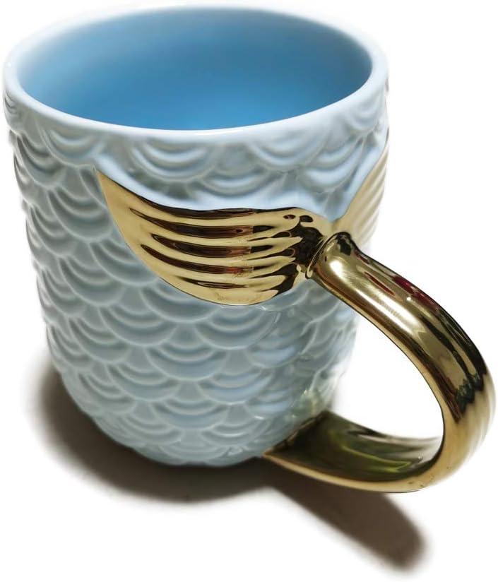 ZaH 15 oz Mermaid Mug Ceramic Coffee Mugs Big Cute Cups Cappuccino Teacup Birthday Bridal Shower Engagement Wedding Gifts Soup Mug for Men Women Kids Girls Boys Gold Handle Sky Blue Mermaid Tail