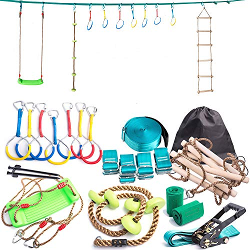 Ninja Line Backyard Obstacle Training Course 50' Slackline - The Most Complete Hanging Monkey Bars kit for Kids with Ladder, Rope and Swing - Portable Training Equipment Gift Set for Kids (Turquoise)