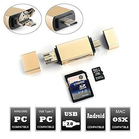 3 en 1 tipo C OTG SD/lector de tarjeta Micro SD con estándar ...
