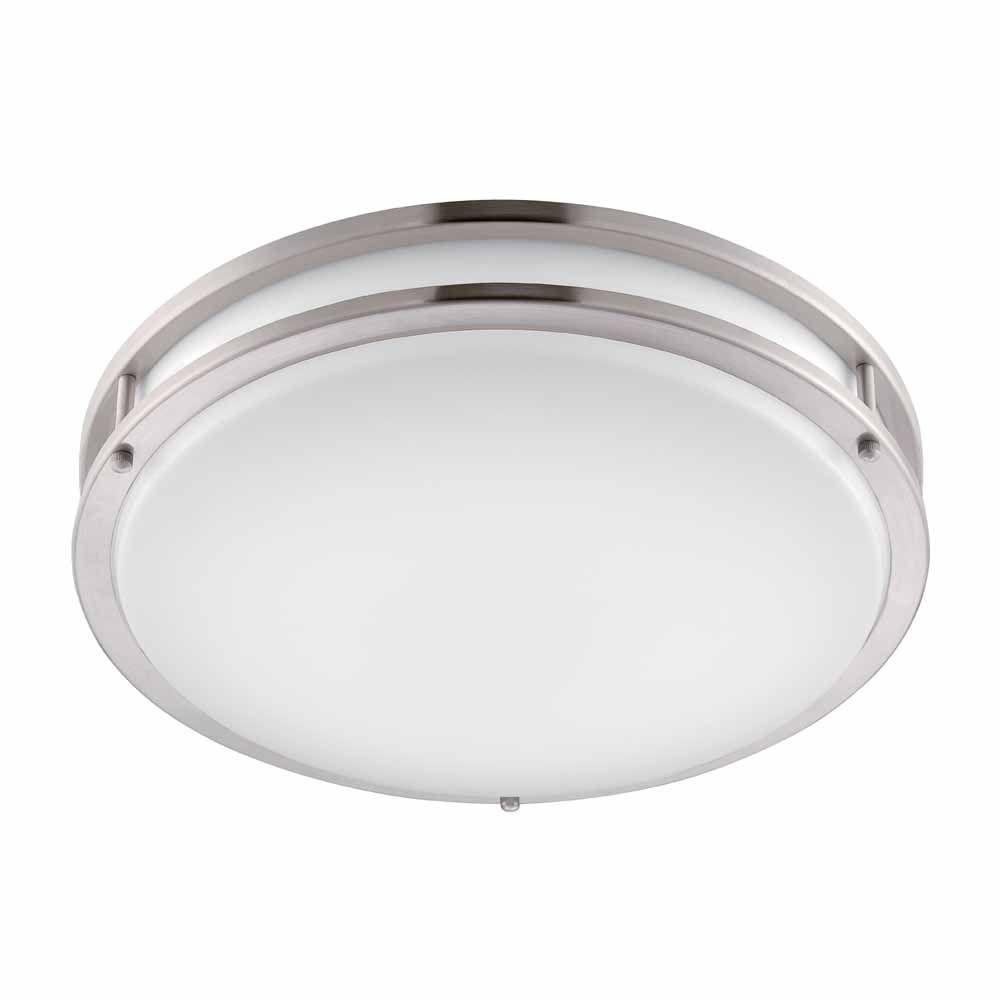 """Hampton Bay DC016LED 16"""" Brushed Nickel LED Round Flush Mount"""