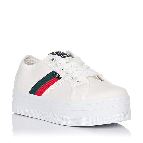 Zapatillas de Lona Blancas Mustang Mega: Amazon.es: Zapatos y complementos