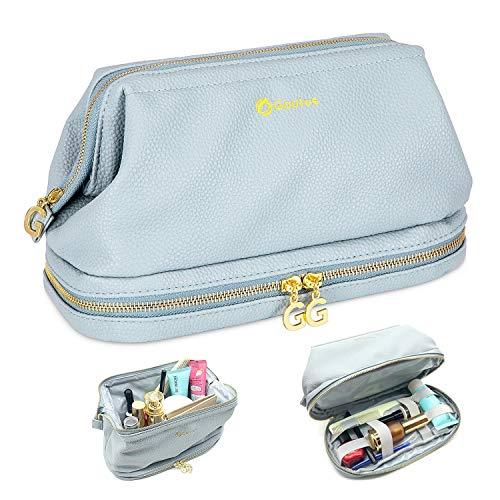 7ba85b8ed1ee Gootus Toiletry Organizer Makeup Bag - Leather Women Cosmetic Bags  Waterproof Travel Kit