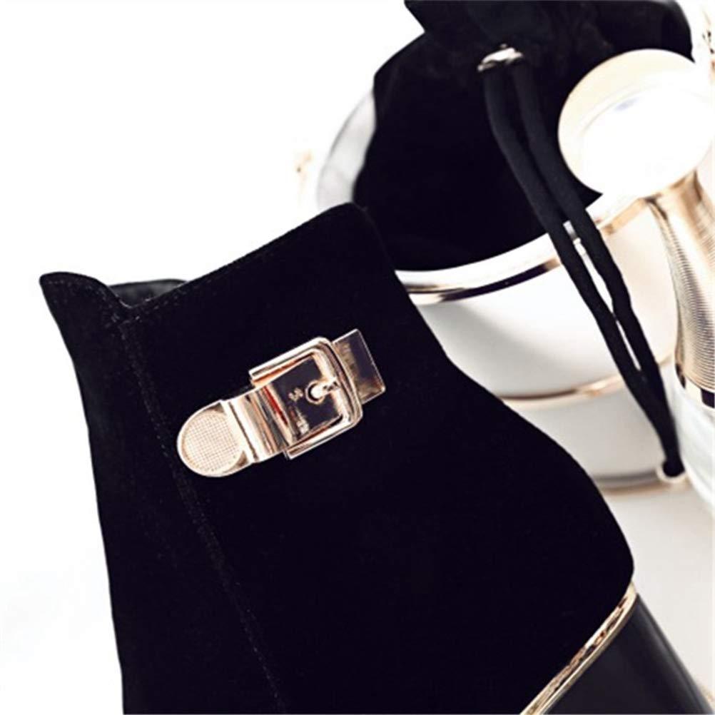 Stiefeletten Für Frauen Herbst Winter Seitlichem Reißverschluss High Heel Kurzen Gefüttert Plüsch Gefüttert Kurzen Round Toe Solid schwarz Rutschfeste Outdoor Weibliche Schuhe 7f5770