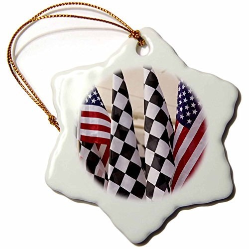 3dRose orn_90263_1 Indianapolis Motor Speedway Flags Jaynes Gallery Snowflake Decorative Hanging Ornament, Porcelain, 3-Inch