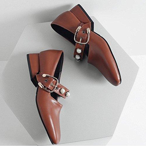 Coolcept Zapatos de Tacon Ancho Bajo para Mujer Brown