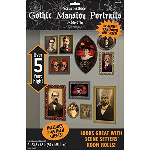 House Decorations For Halloween (Amscan BB673032 Gothic Mansion Portraits Wall Decorations, 2-33.5